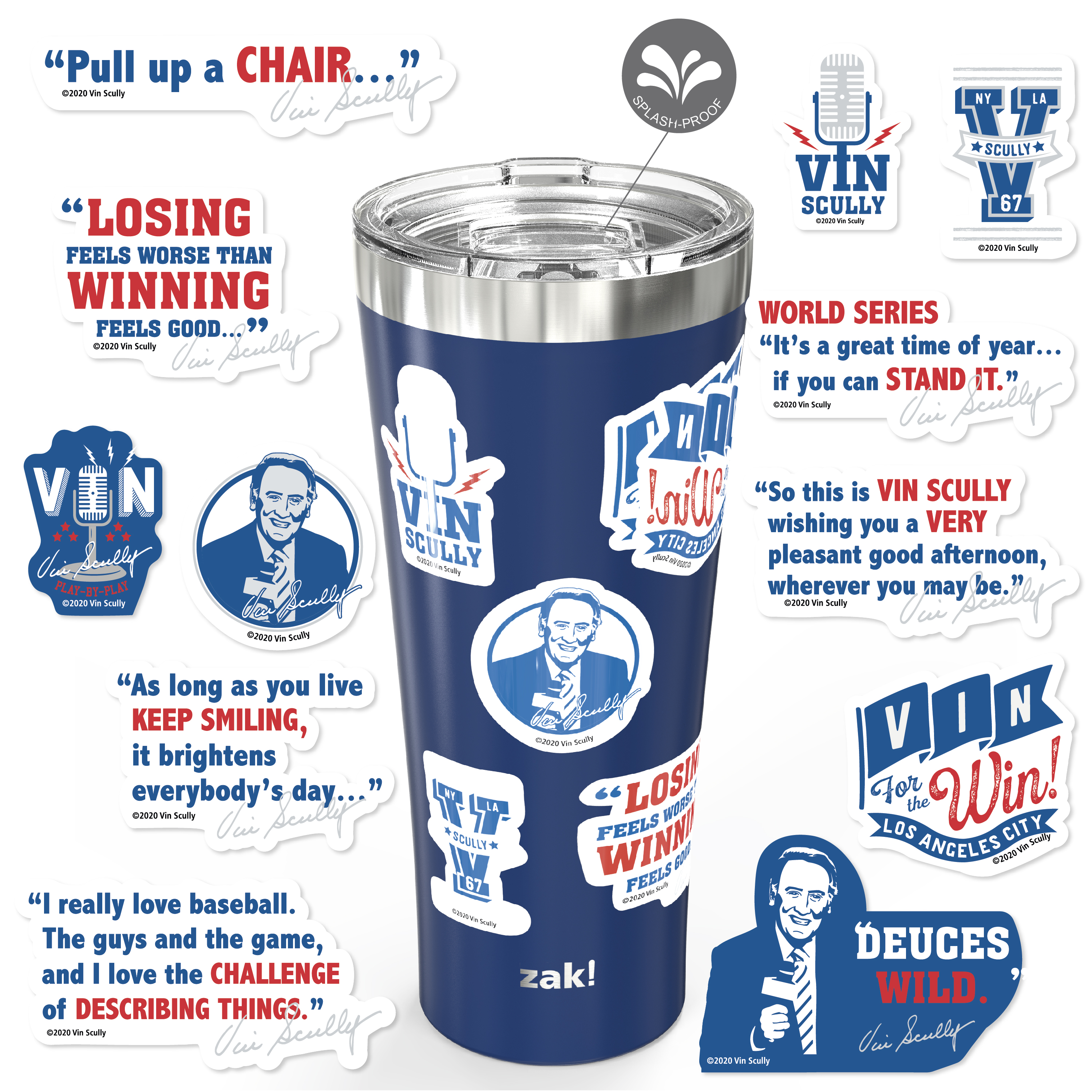 Zak Hydration 30 ounce Vacuum Insulated Stainless Steel Tumbler, Vin Scully, 2-piece set slideshow image 1