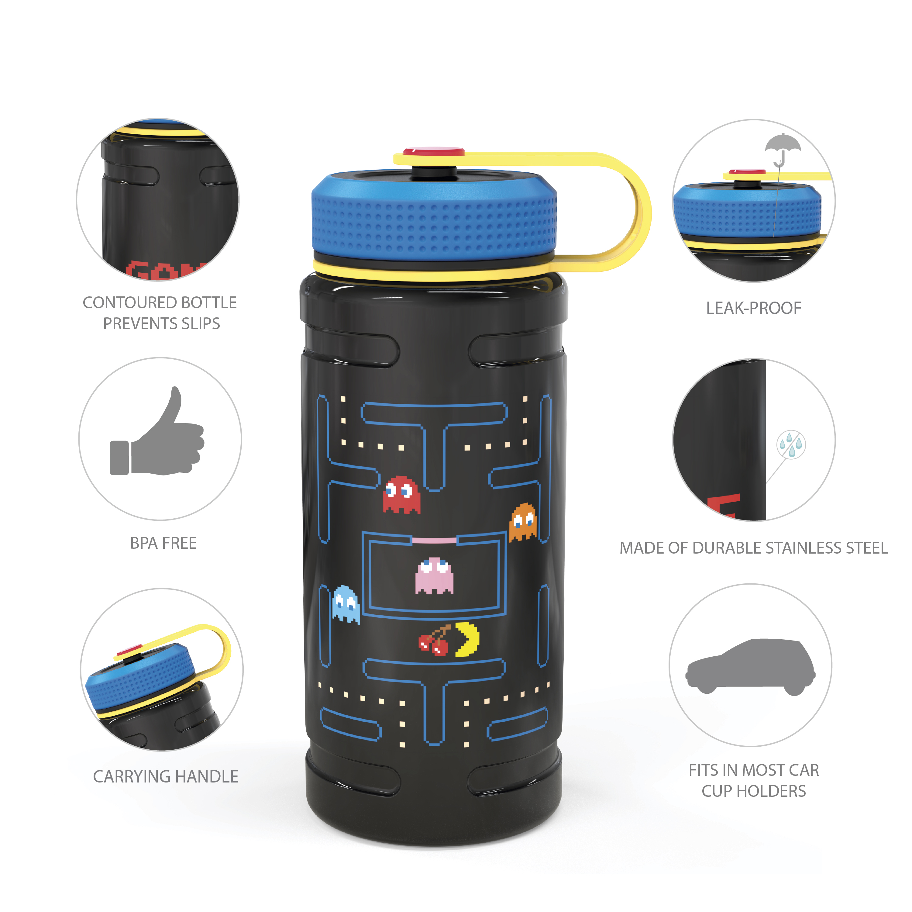 Retro Gaming 24 ounce Stainless Steel Insulated Water Bottle, Pac Man and Ghosts slideshow image 8