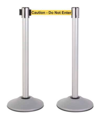 Premium Steel Stanchion - Silver with Caution belt 1