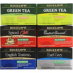Mixed Case of 6 Bigelow Decaf Teas - 6 boxes -total of 120 teabags