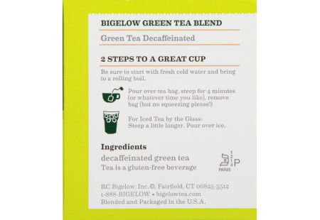 Ingredient panel of Decaffeinated Green Tea box