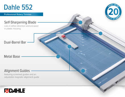 Dahle 552 Professional Rotary Trimmer InfoGraphic