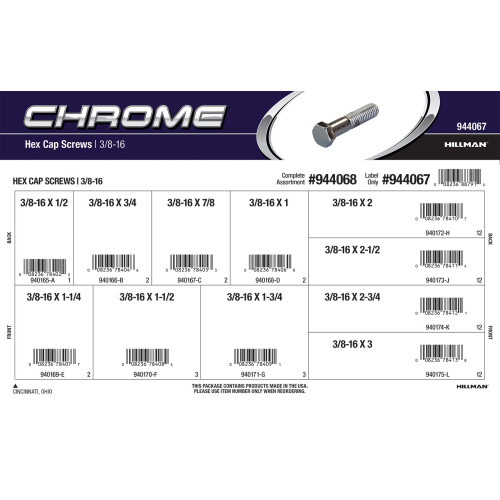 Chrome Hex Cap Screws Assortment (3/8