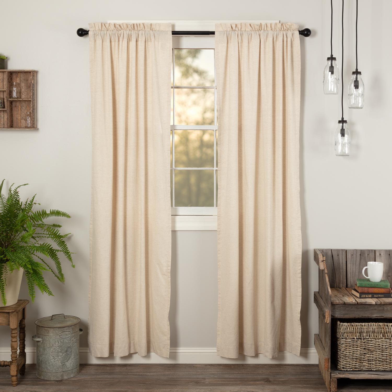 VHC Farmhouse Panel Pair Simple Life Flax Curtains Rod
