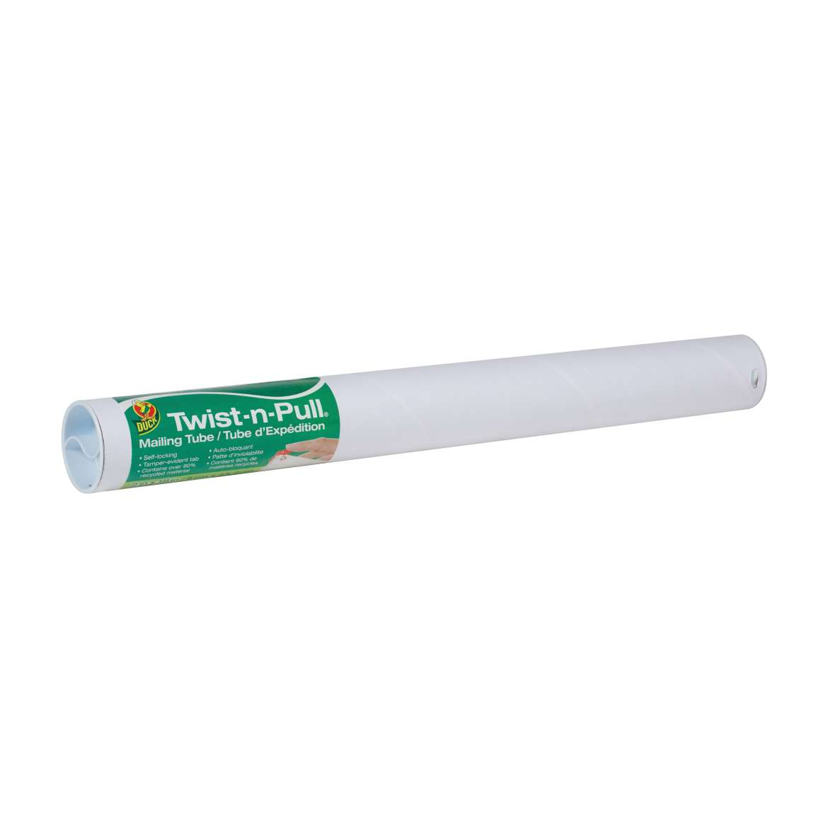 Duck® Brand Twist-n-Pull® Mailing Tube - White, 2 in. x 18 in. Image