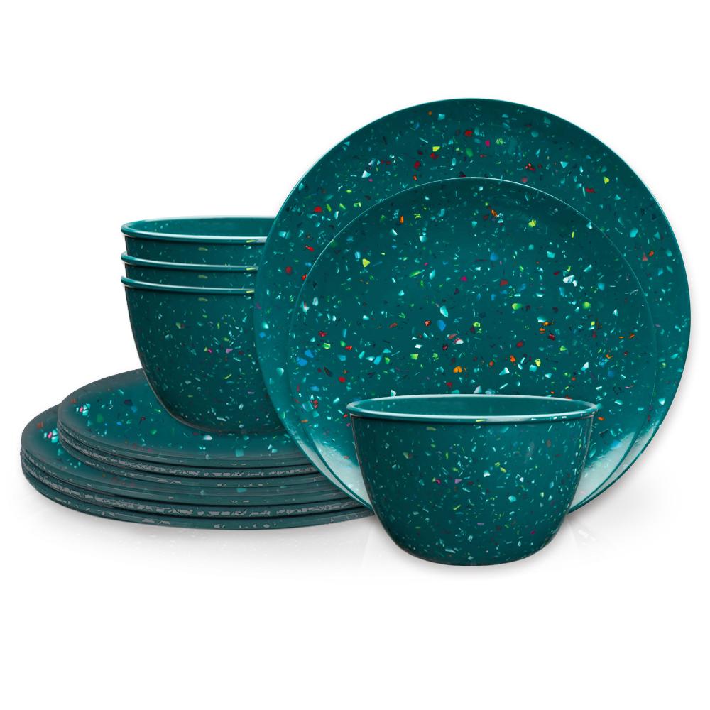 Confetti Dinner Plate, Salad Plate and Bowl Dinnerware Set, Peacock, 12-piece set slideshow image 1