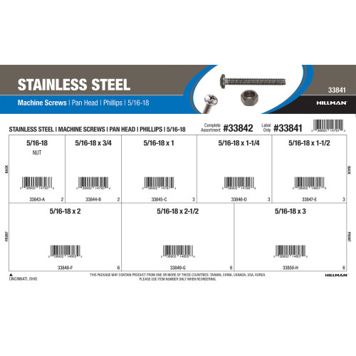 Stainless Steel Pan-Head Phillips Machine Screws Assortment (5/16