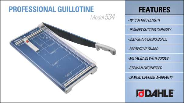 Dahle 534 Professional Guillotine Trimmer InfoGraphic