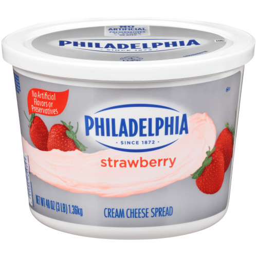 PHILADELPHIA Strawberry Cream Cheese Spread, 3 lb. Tub (Pack of 6)