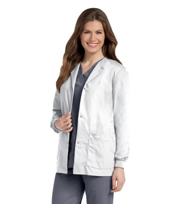 Landau Essentials 4 Pocket Scrub Jacket for Women: Classic Relaxed Fit, Crew Neck, Snap Front, and Knit Cuffs 7525-