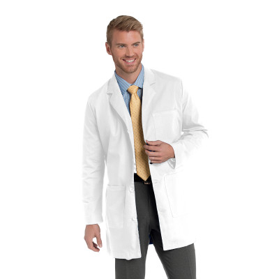 Landau 3 Pocket Lab Coat for Men - Classic Fit, Mid Length, 4 Button, Faux Back Belt 3163-Landau