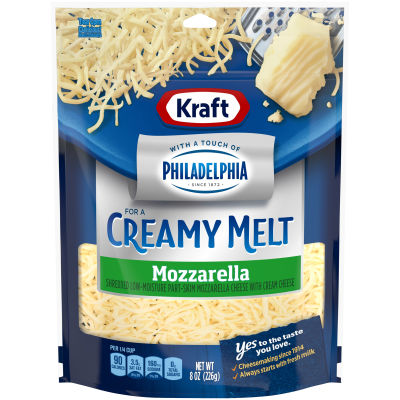 Kraft Shredded Mozzarella Cheese with a Touch of Philadelphia 8 oz Pouch