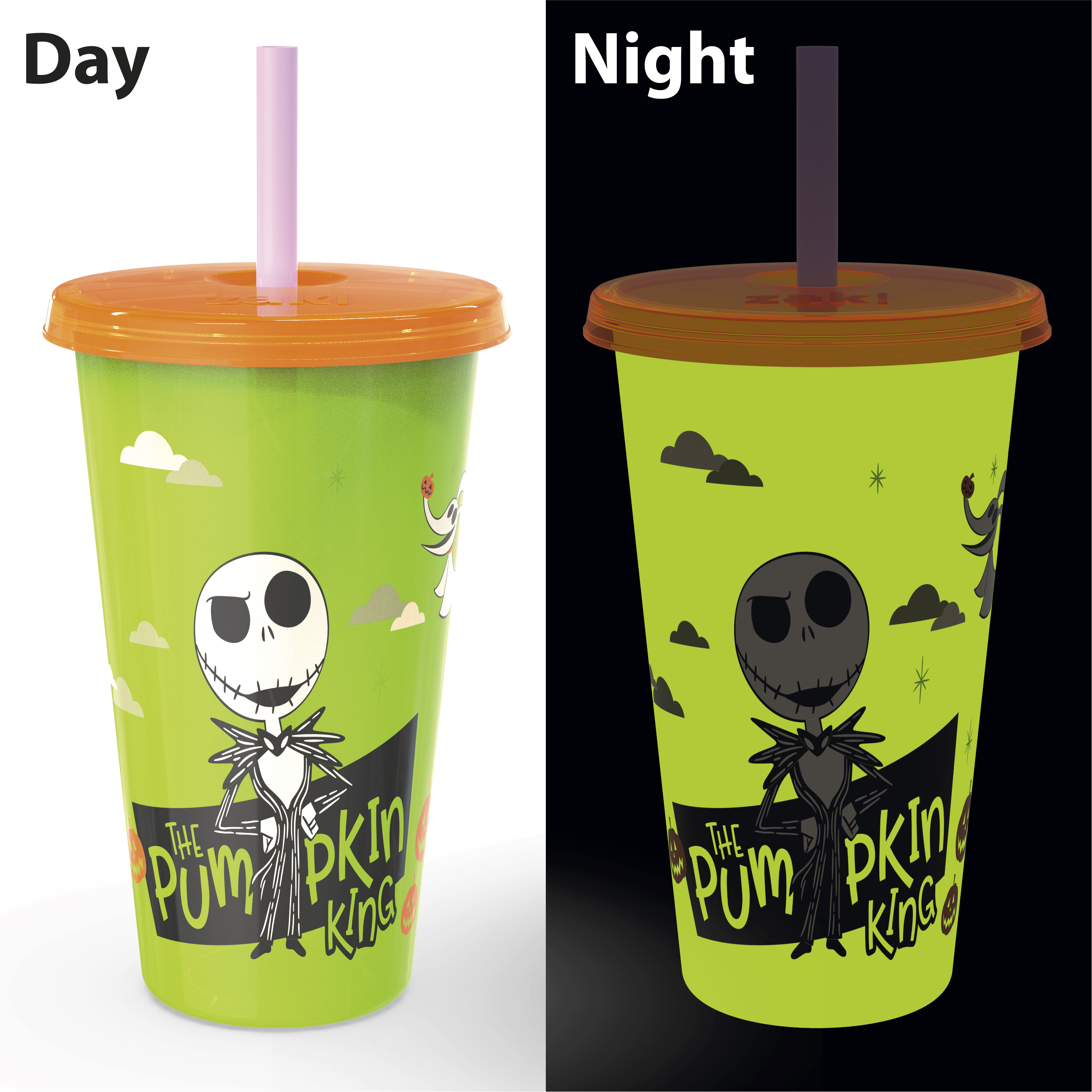 The Nightmare Before Christmas 24 ounce Reusable Plastic Kids Tumbler, Jack Skellington, Oogie Boogie & Zero, 4-piece set slideshow image 6