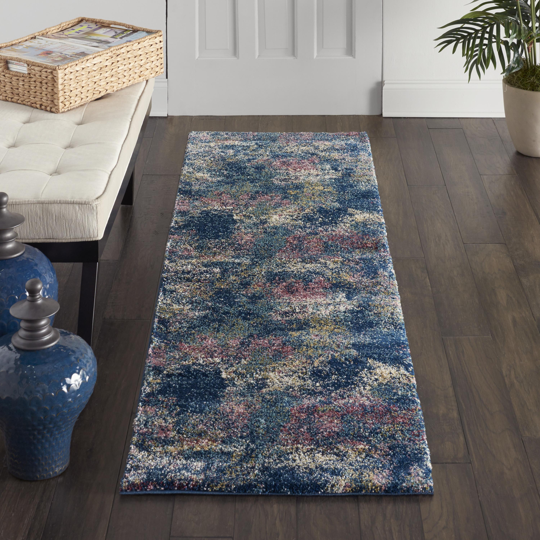 Nourison Fusion Fss17 Blue Multicolor 8' Runner  Hallway Rug