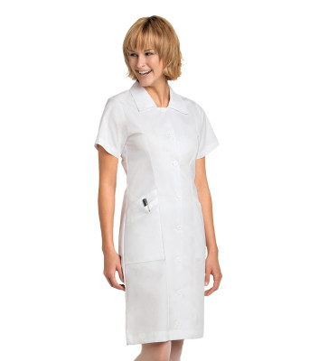 Landau Essentials Scrub Dress for Nursing Student : Classic Relaxed Fit, Notched Collar, Button Down 8052-Landau