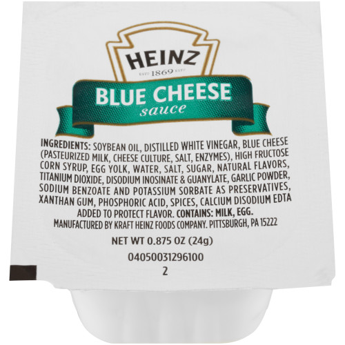 HEINZ Single Serve Blue Cheese Sauce, 0.87 oz. Cups (Pack of 100)