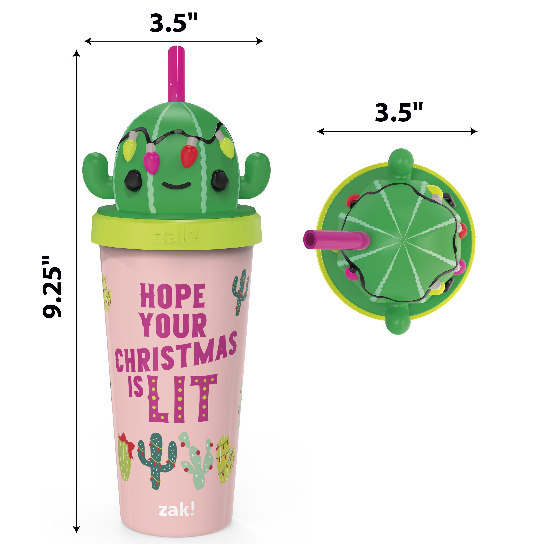 Zak Holiday 18 ounce Reusable Plastic Tumbler, Cactus slideshow image 3