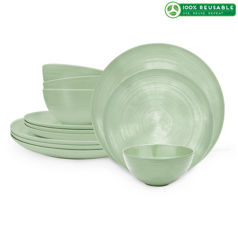 American Conventional Plate & Bowl Sets, Sage, 12-piece set slideshow image 1