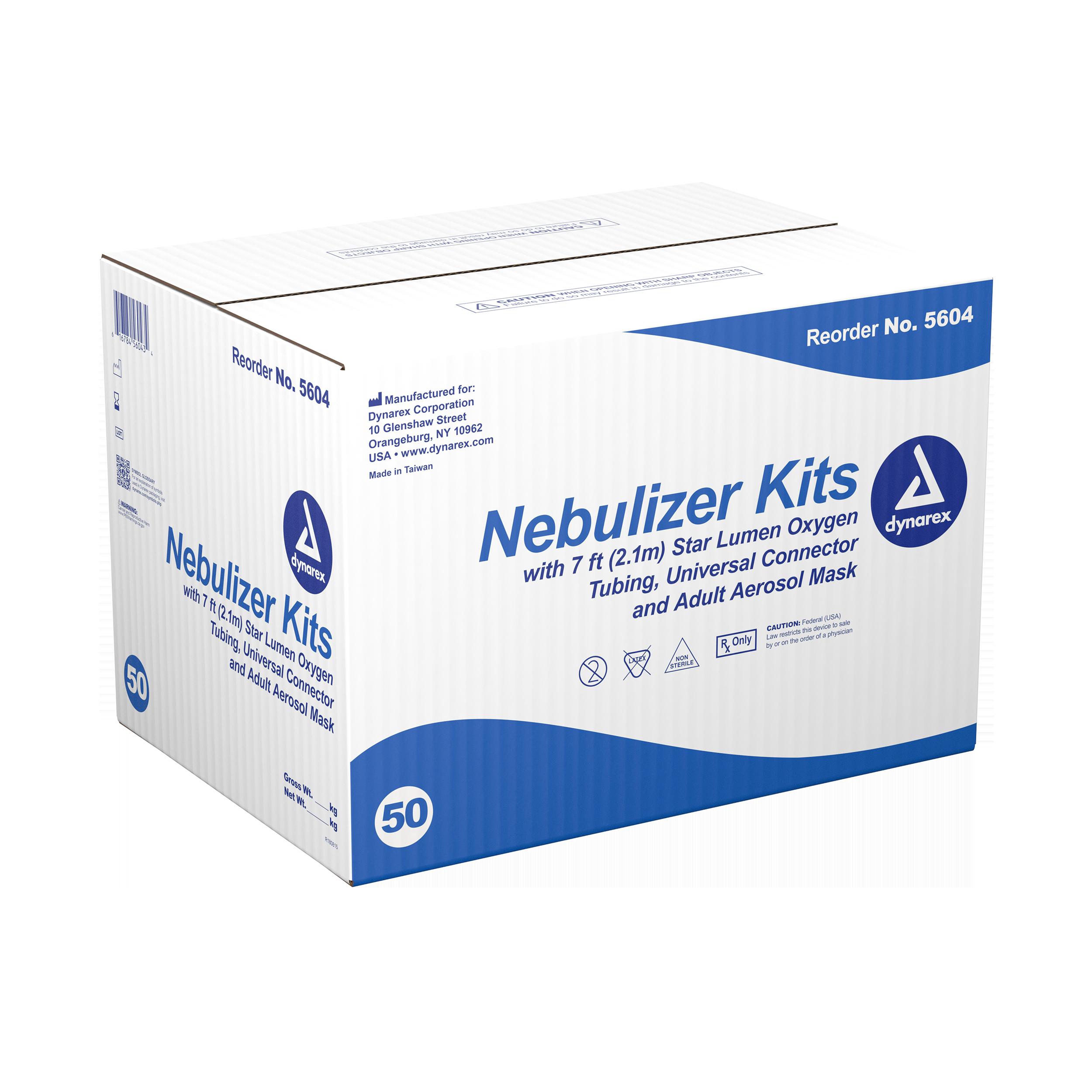 Nebulizer Kit With Adult Aerosol Mask - 7ft Oxygen Tubing - 50/Cs