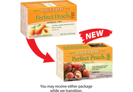Picture showing previous Perfect Peach Box compared to new Perfect Peach package