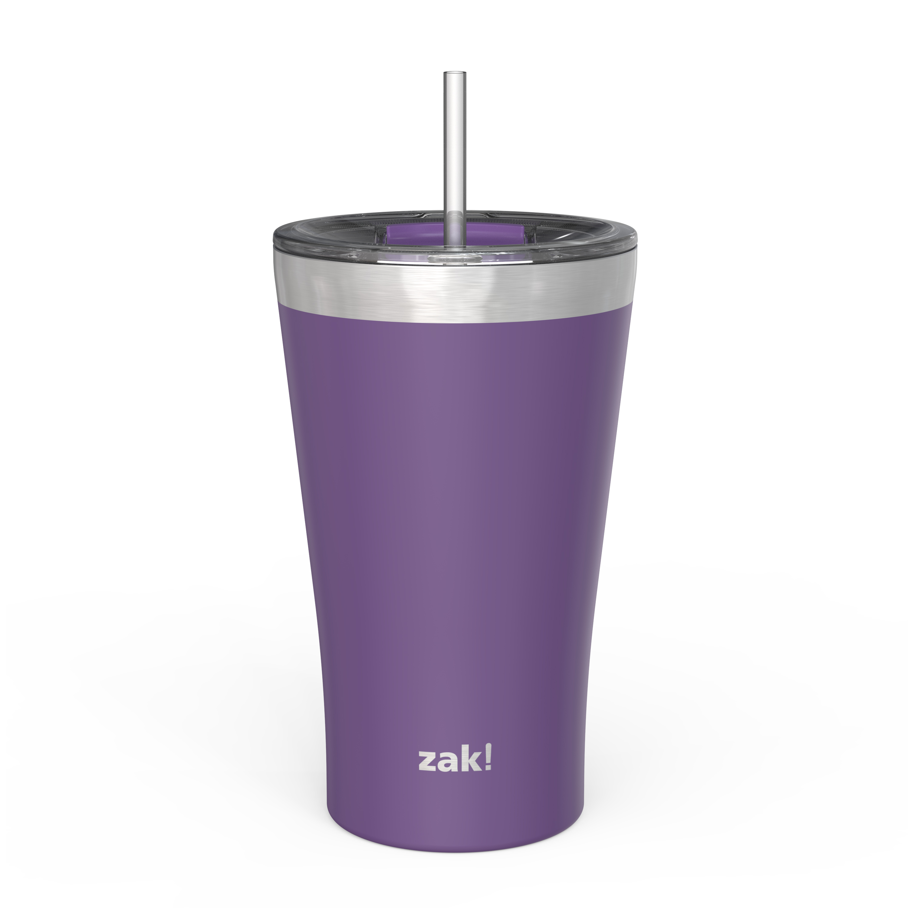 Zak Hydration 20 ounce Reusable Vacuum Insulated Stainless Steel Tumbler with Straw, Viola slideshow image 1
