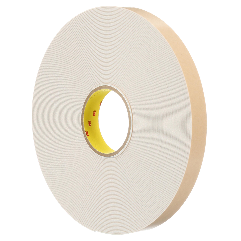 3M™ Double Coated Polyethylene Foam Tape 4496W, White, 1 1/2 in x 36 yd, 62 mil, 6 rolls per case