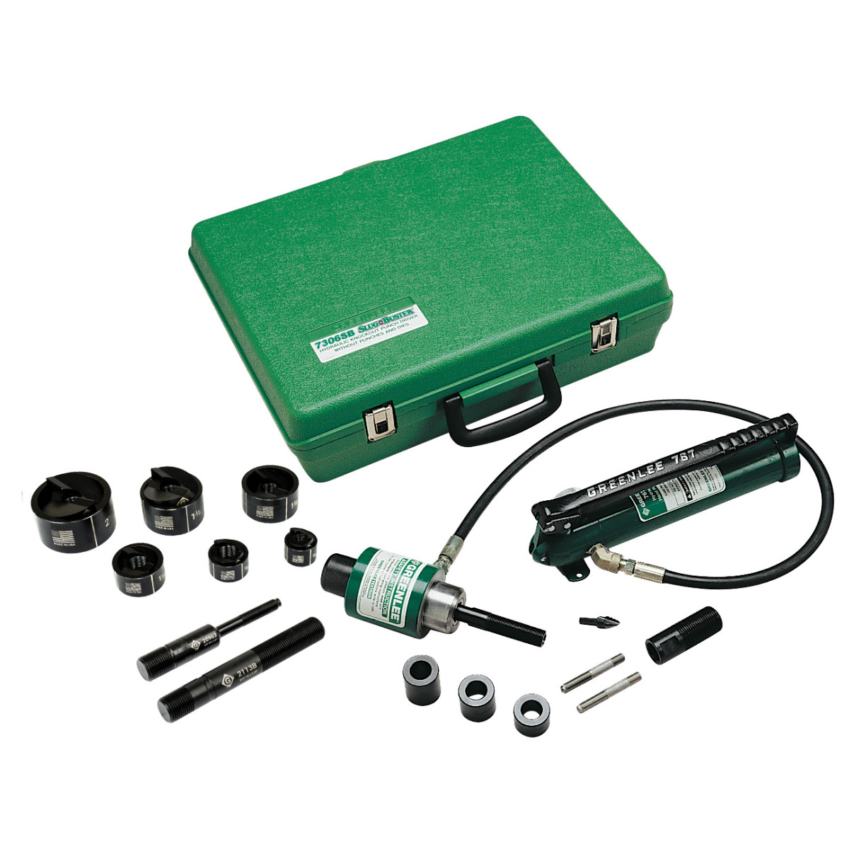 GRT7306SB DRIVER, HAND PUMP, SLUG-BUSTER PUNCHES, DIES AND DRAW STUDSFOR 1/2 THROUGH 2 CONDUIT, ADAPTER, SPACERS, KWIK STEPPER STEP BIT AND PLASTIC CASE, GREENLEE