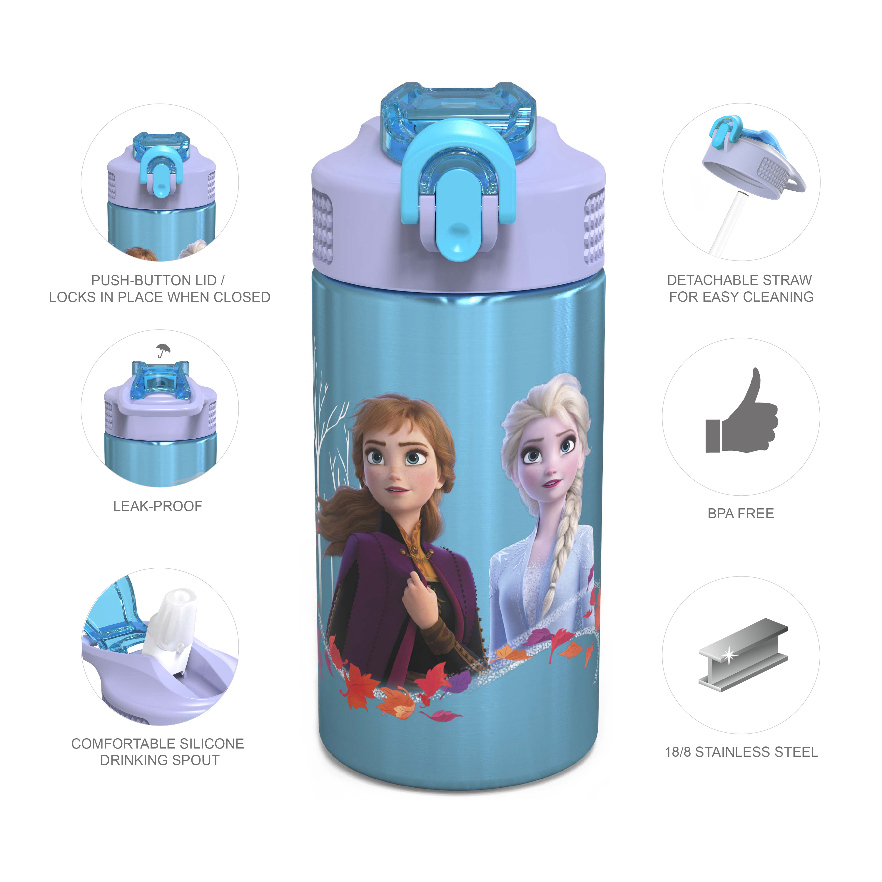 Disney Frozen 2 Movie Water Bottle, Anna , Elsa and Olaf, 2-piece set slideshow image 7