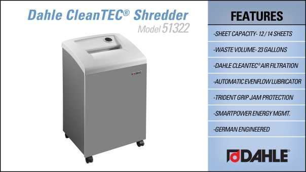 DAHLE CleanTEC® 51322 Small Office Shredder InfoGraphic