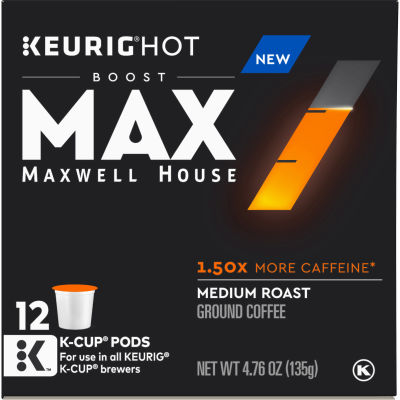 MAX Boost by Maxwell House 1.5x Caffeine Medium Roast Ground Coffee K-Cup Pods, 12 count