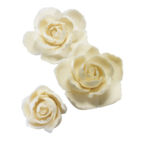 Ruffled Edge Rose Assortment Gum Paste Flowers