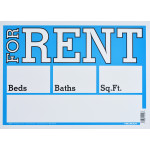 "For Rent Sign Blue and White (10"" x 14"")"