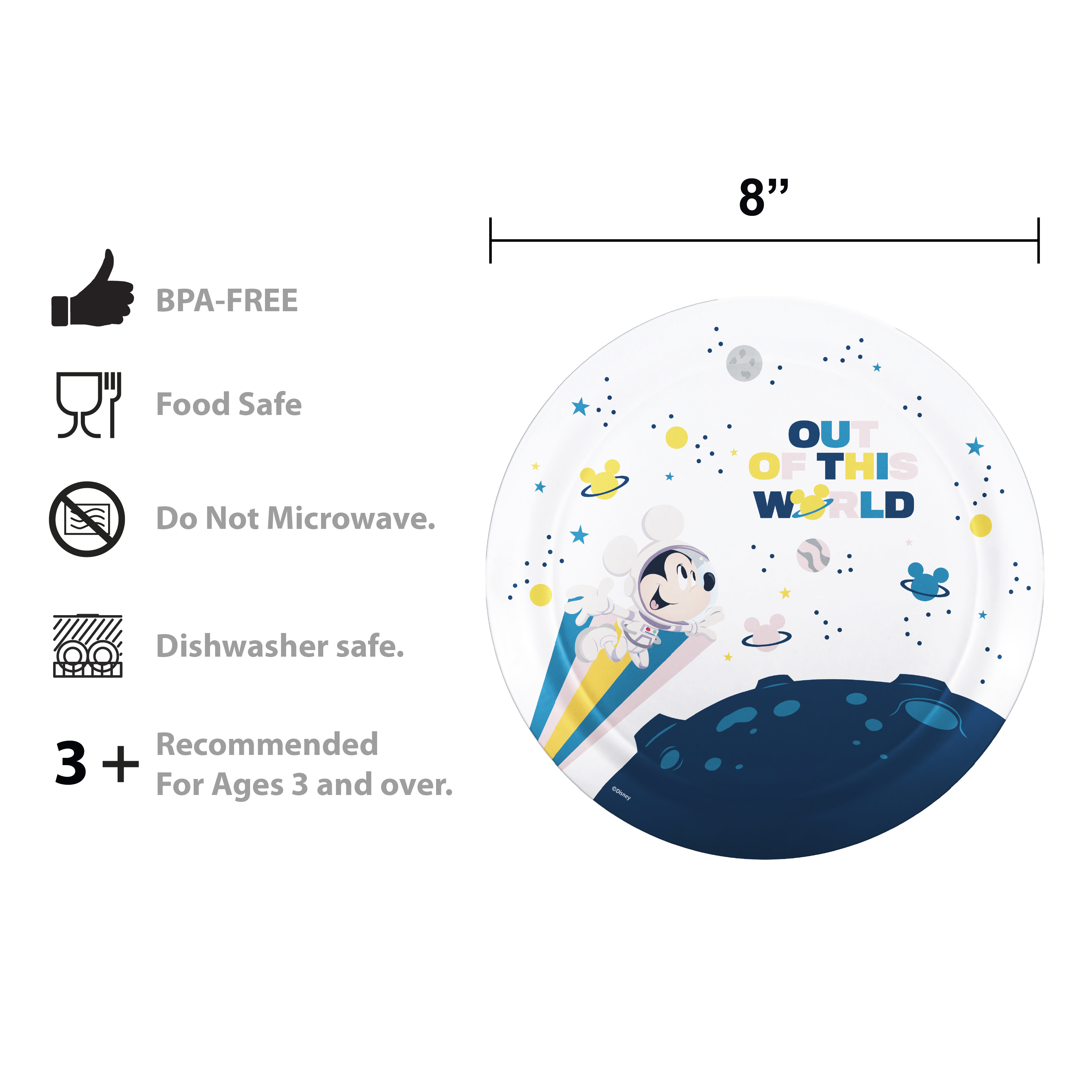 Disney Plate, Bowl, Tumbler and Flatware Set, Outer Space Mickey Mouse, 5-piece set slideshow image 9