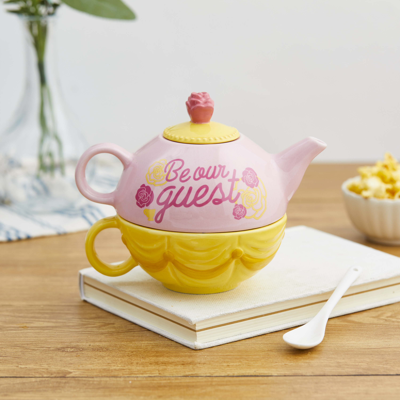 Disney Princess Sculpted Ceramic Tea Set, Princess Belle, 4-piece set slideshow image 4