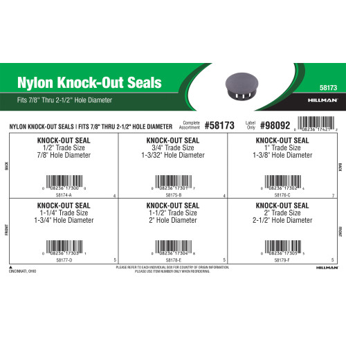 Nylon Knock-Out Seals Assortment (Fits 7/8