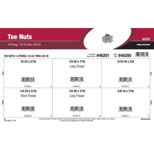 4-Prong Tee Nuts Assortment (#10-24 thru 3/8