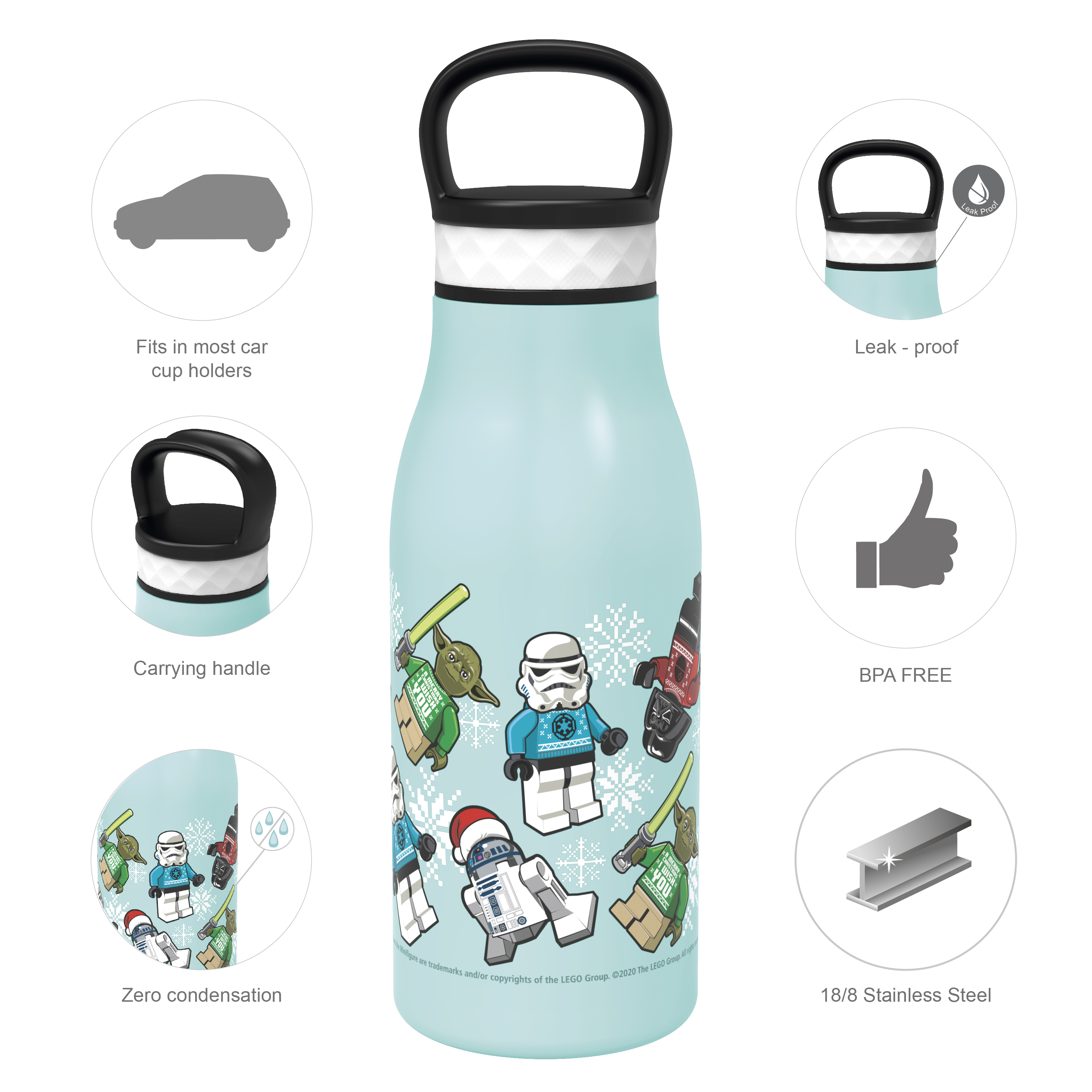 Lego Star Wars 12 ounce Stainless Steel Vacuum Insulated Water Bottle, Darth Vader, Stormtroopers and Yoda slideshow image 6
