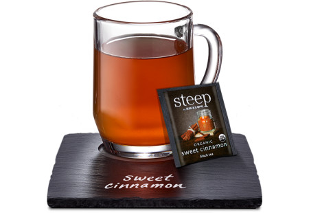 Cup of steep by bigelow organic sweet cinnamon black tea