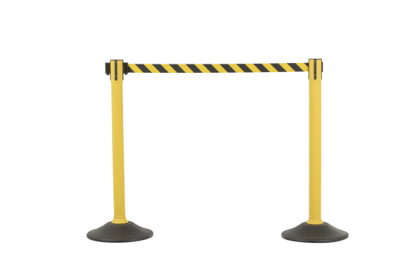 Sentry Stanchion - Yellow with Chevron belt 1