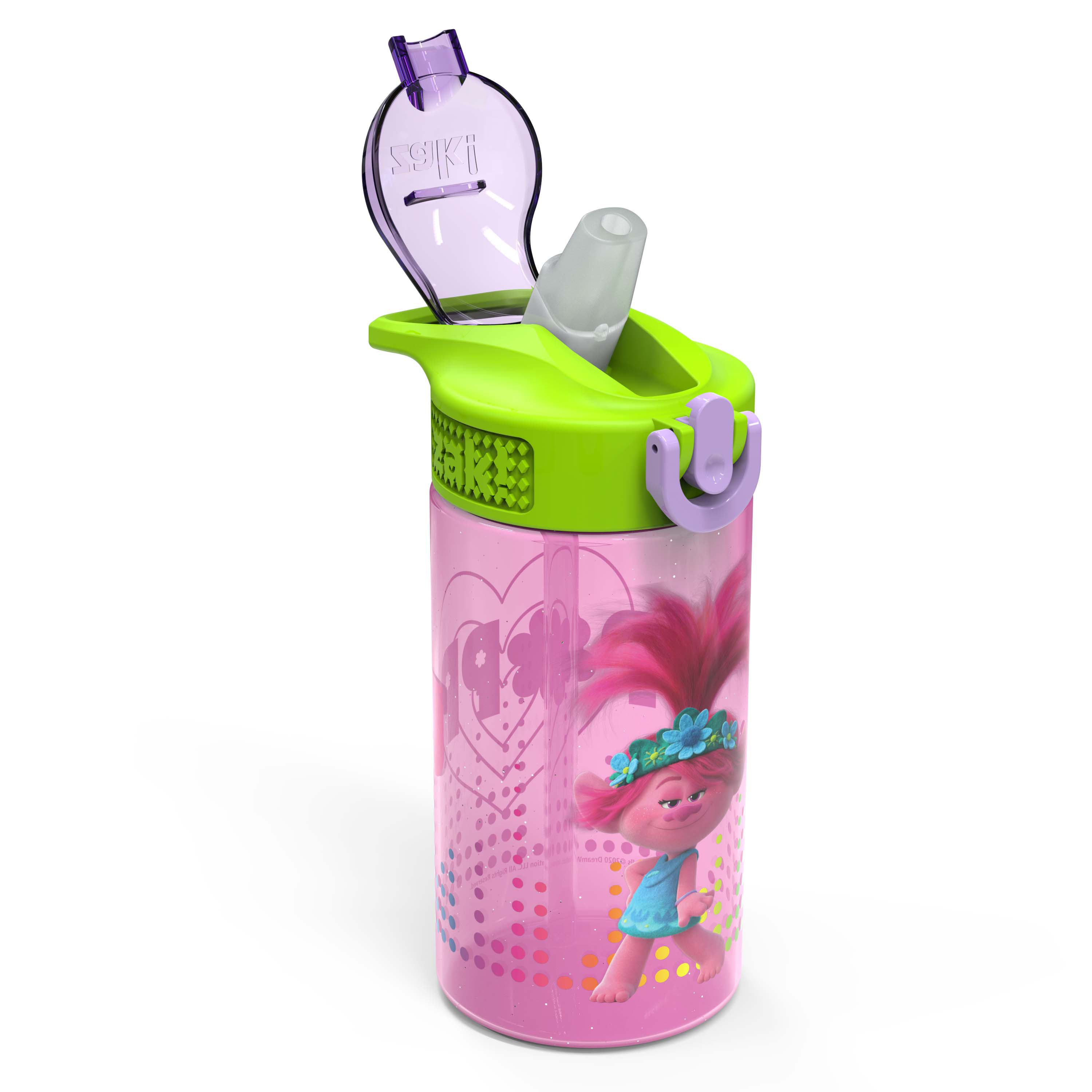Trolls 2 Movie 16 ounce Reusable Plastic Water Bottle with Straw, Poppy, 2-piece set slideshow image 8