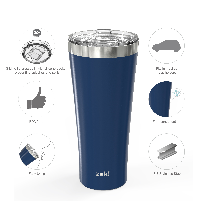 Alpine 30 ounce Stainless Steel Vacuum Insulated Tumbler with Straw, Indigo slideshow image 4