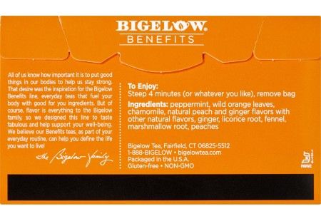 Back of of Bigelow Benefits Ginger and Peach Herbal Tea box