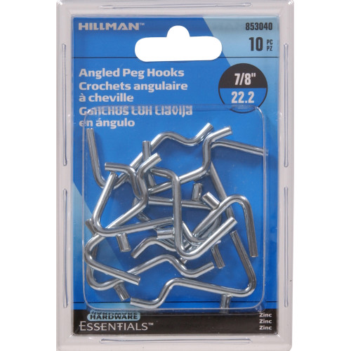 Zinc Plated Angled Hook 0.148 x 7/8in.