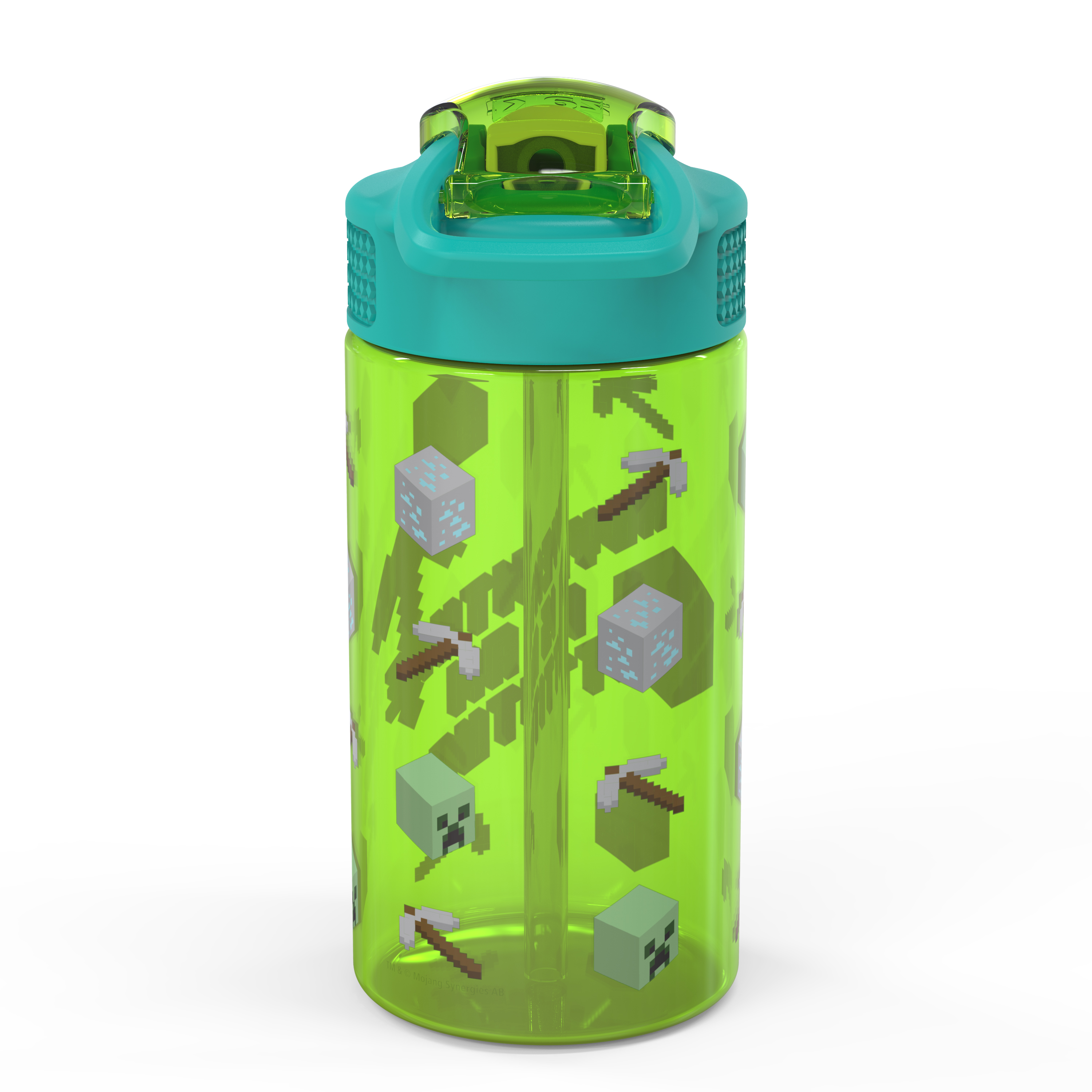 Minecraft 16 ounce Reusable Plastic Water Bottle with Straw, Creeper, 2-piece set slideshow image 2