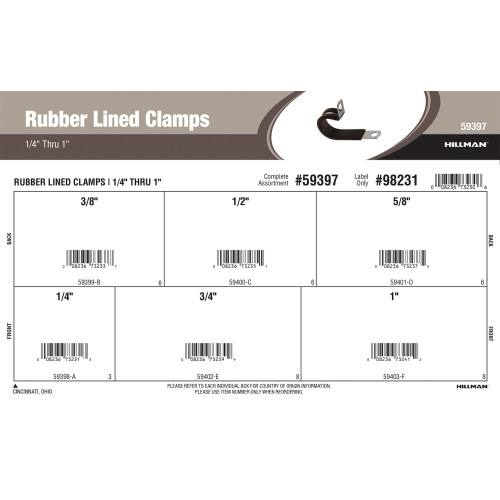 Rubber Lined Clamps Assortment (1/4