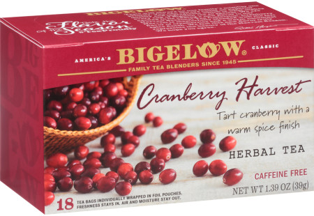 Cranberry Harvest Herbal Tea - Case of 6 boxes- total of 108 tea bags