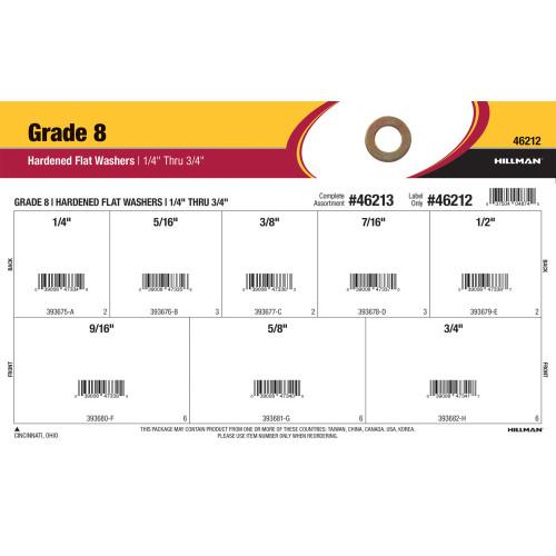 Grade 8 Hardened Flat Washers Assortment (1/4