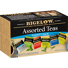 Assorted Black and Green Teas Variety Pack - Case of 6 boxes - total of 108 teabags