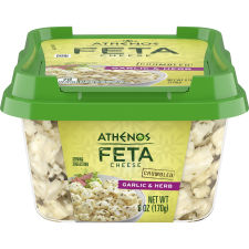 Athenos Crumbled Garlic & Herb Feta Cheese 6 oz Tub