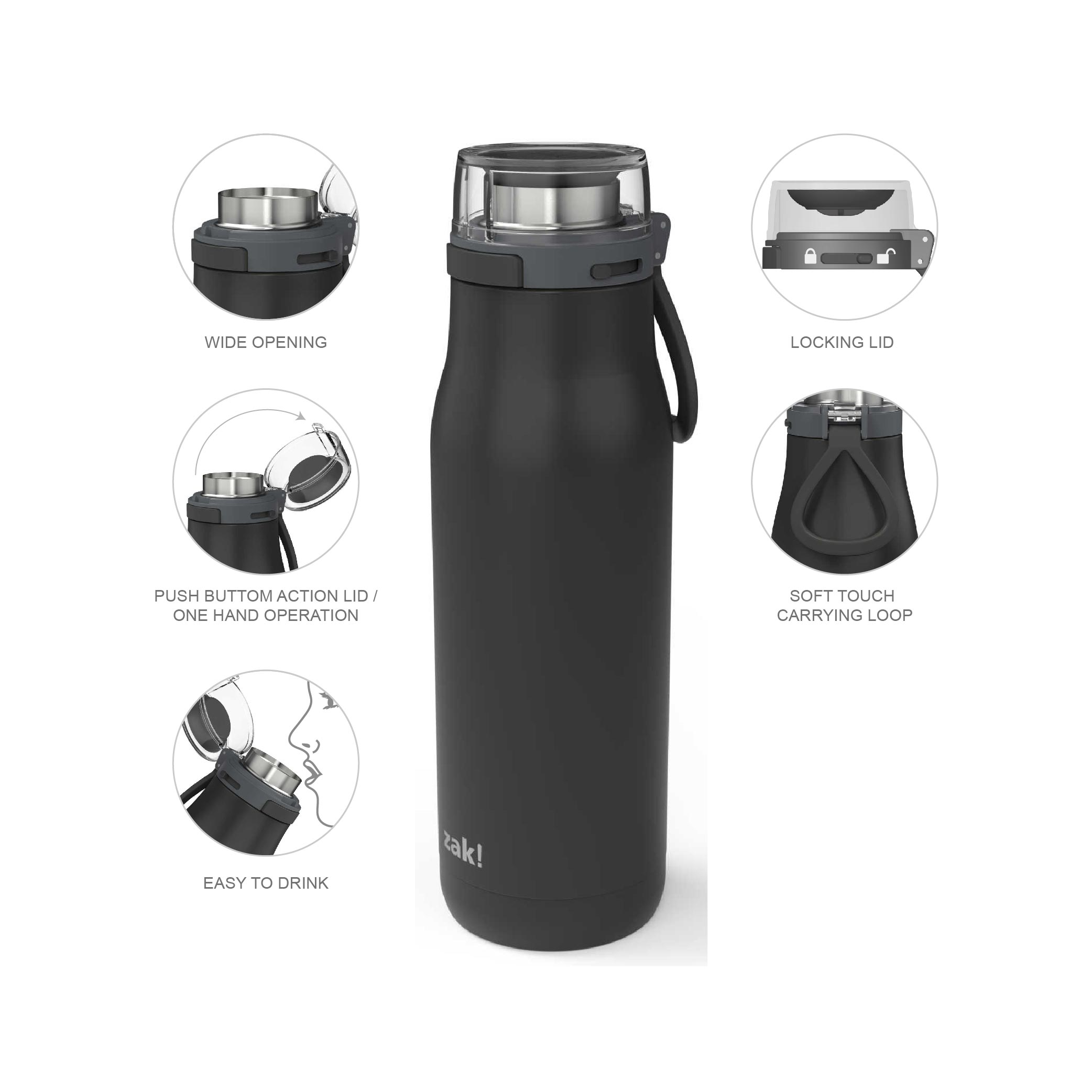 Kiona 20 ounce Vacuum Insulated Stainless Steel Tumbler, Charcoal slideshow image 6